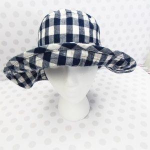 Old Navy Navy/White Checkered Floppy Hat M